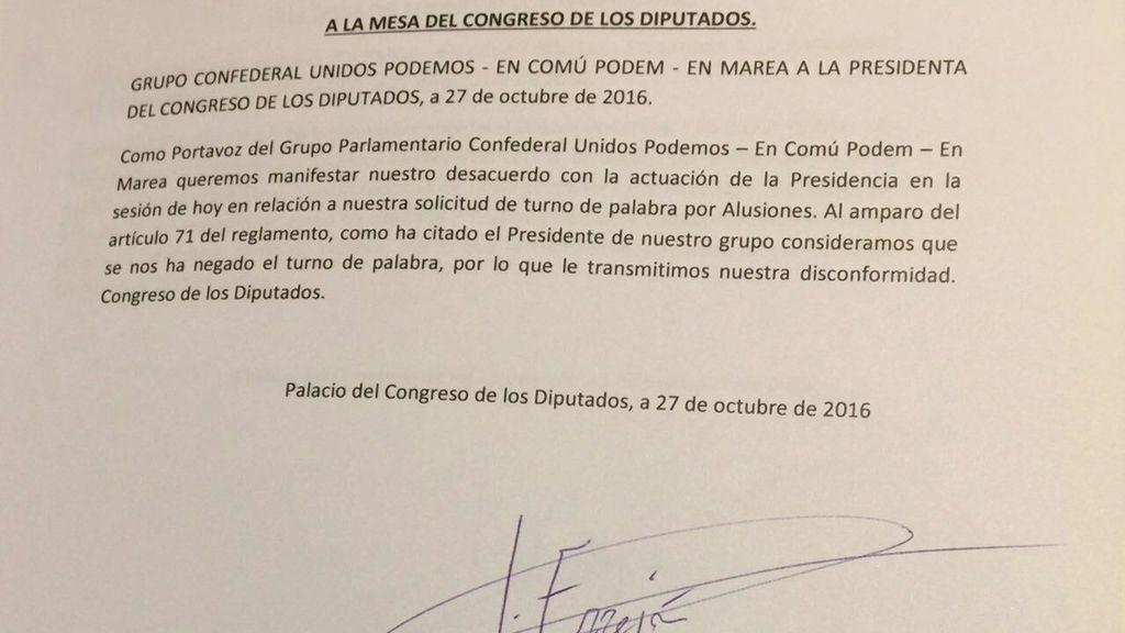 Podemos registra su protesta tras negársele el turno de alusiones a Pablo Iglesias