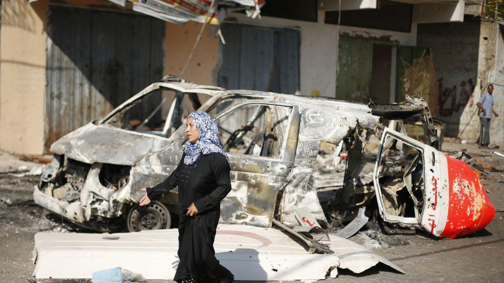 Ambulancia destrozada en Gaza