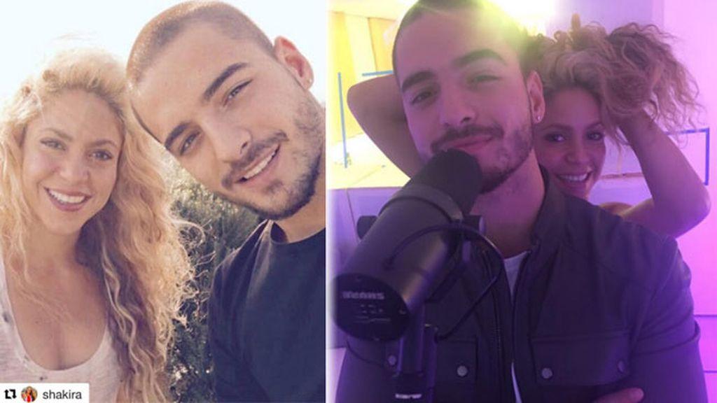 Con Shakira, en Barcelona