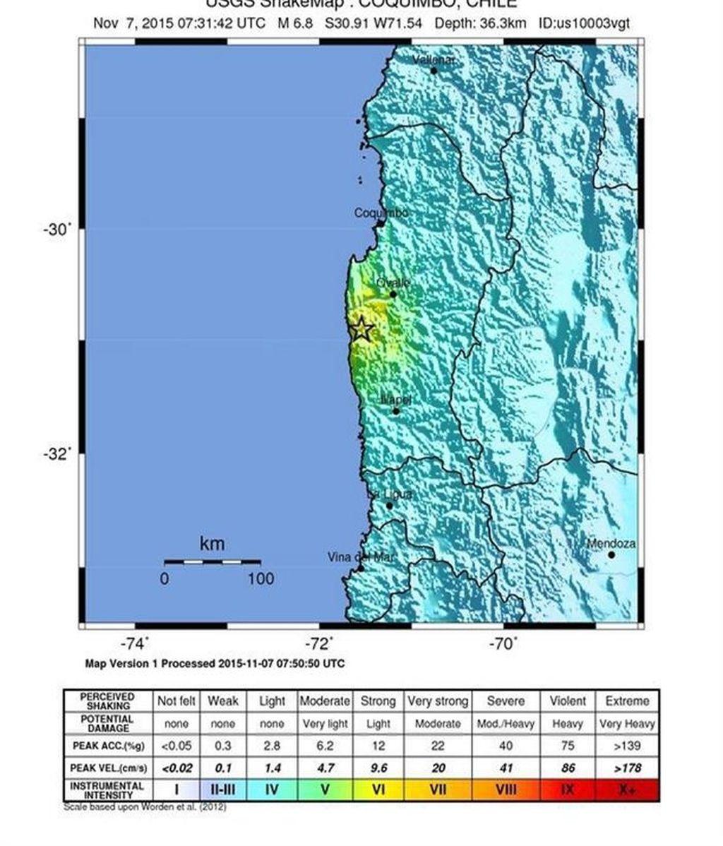 Registran un terremoto de 6,8 en la zona centro de Chile