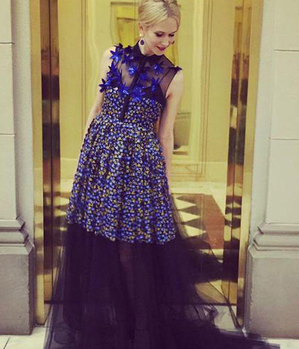 Indré Rockefeller con vestido de DelPozo