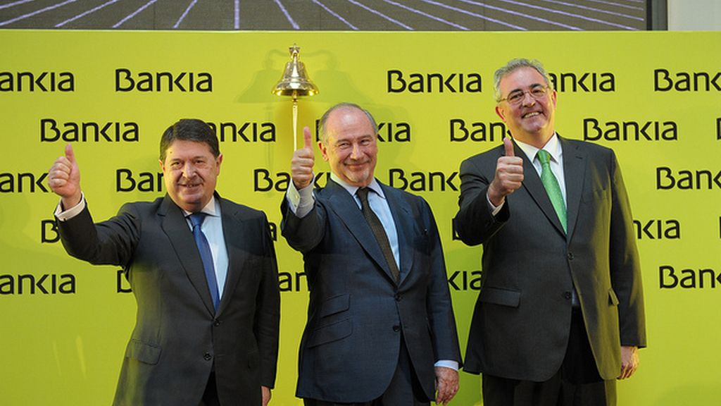 Olivas, Rato y Verdú celebran la salida de Bankia a Bolsa