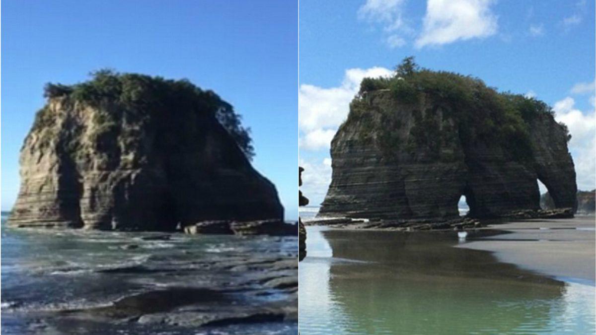 La Roca del elefante de Nueva Zelanda antes y después del terremoto