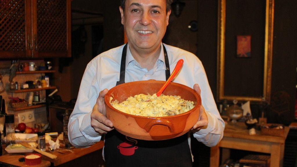 Tagliatelle a los 4 quesos con champiñones al aroma de trufa