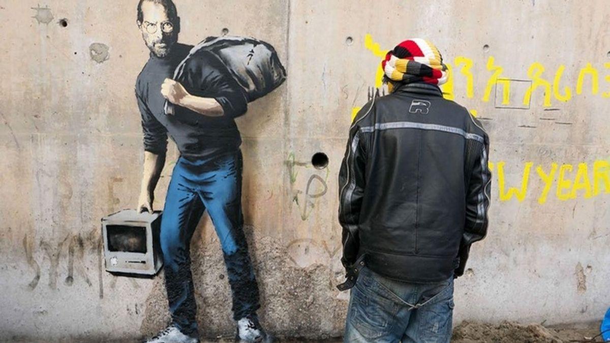Francia protegerá el grafiti de Banksy en el que representa a Steve Jobs como refugiado