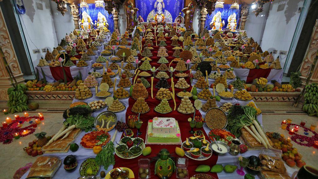 La mejor ofrenda posible, multitud de alimentos para el templo