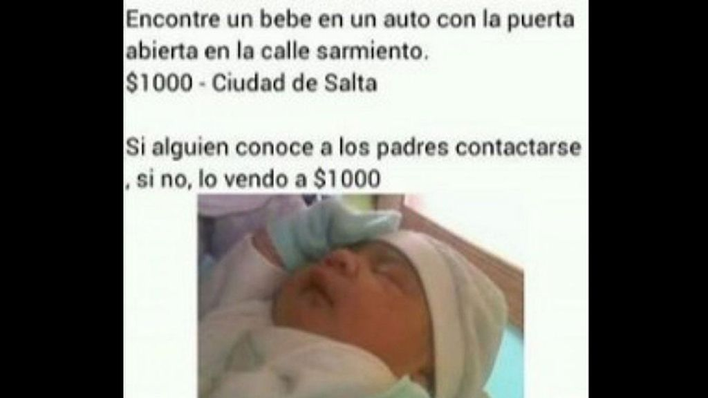 Encuentra un bebé en un coche y lo vende por Facebook a 59 euros