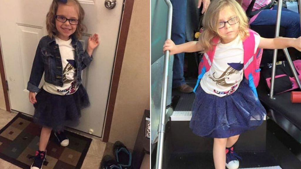Una madre fotografía el antes y el después del primer día de colegio de su hija