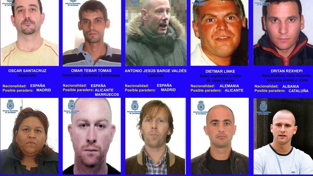 La Policía Nacional busca a diez criminales que podrían encontrarse en España