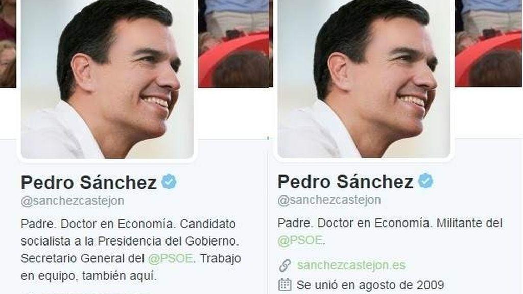 El cambio en el perfil de Twitter de Pedro Sánchez