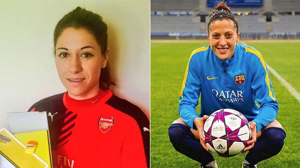 Las centrocampistas María Victoria Losada y Jenni Hermoso