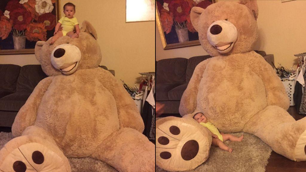 Un gigante oso de peluche, el regalo de un abuelo a su nieta que aplaude Twitter