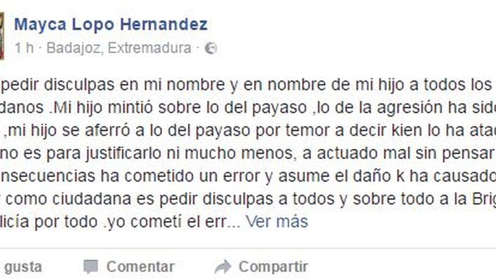 La madre del joven detenido en Badajoz, pide perdón en las redes
