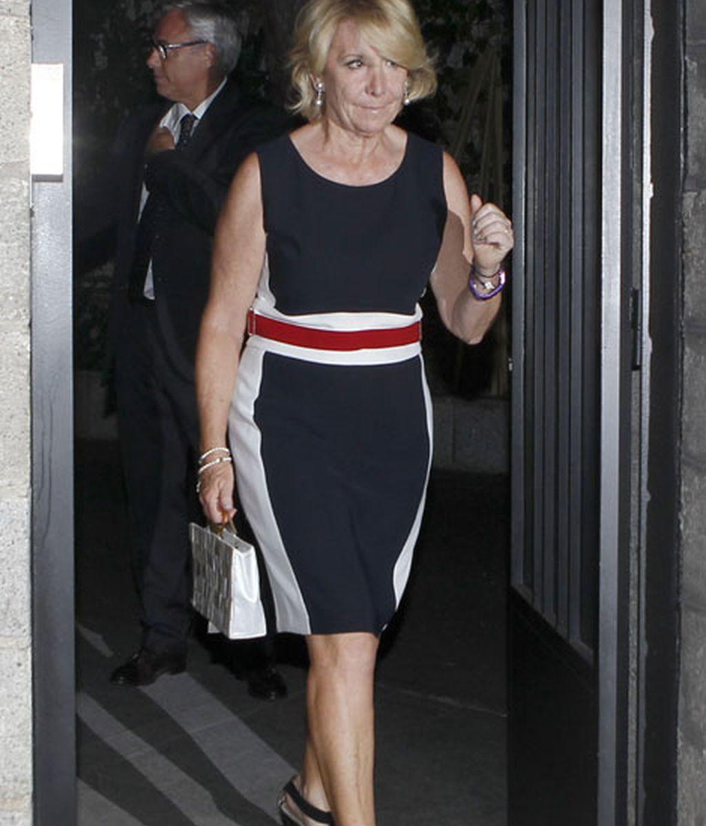 Esperanza Aguirre a la salida del velatorio