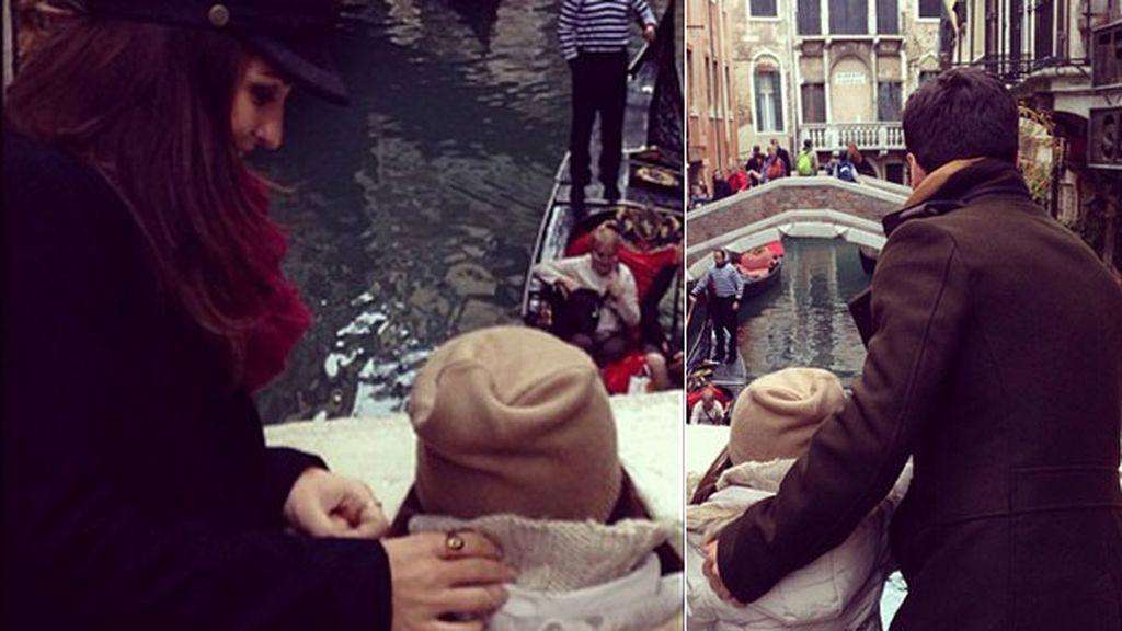 David y Paula se hicieron fotos desde un puente con Daniella