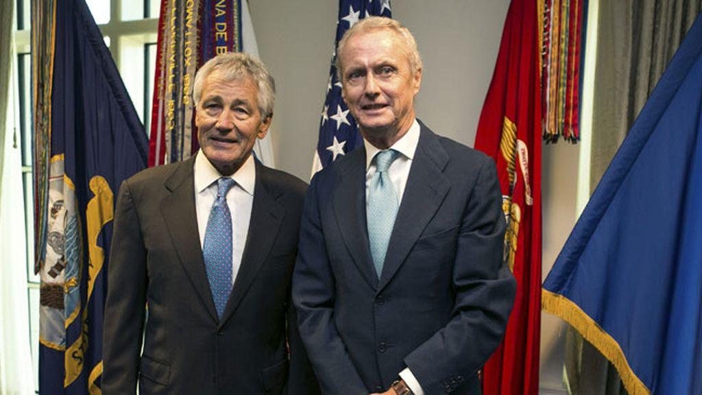Ministro de Defensa Pedro Morenés con su homólogo noreteamericano Chuck Hagel