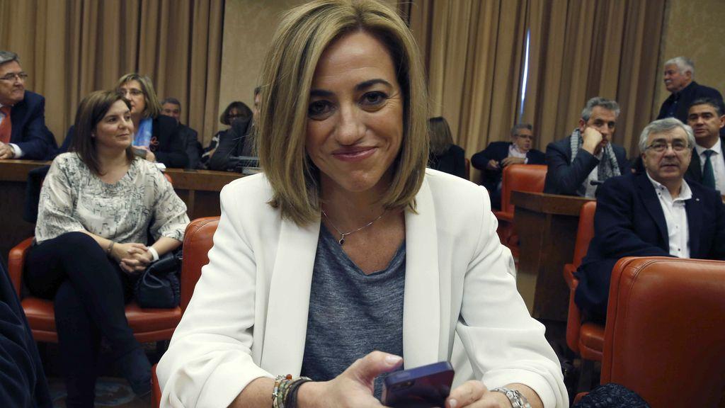 Chacón durante una reunión del PSOE