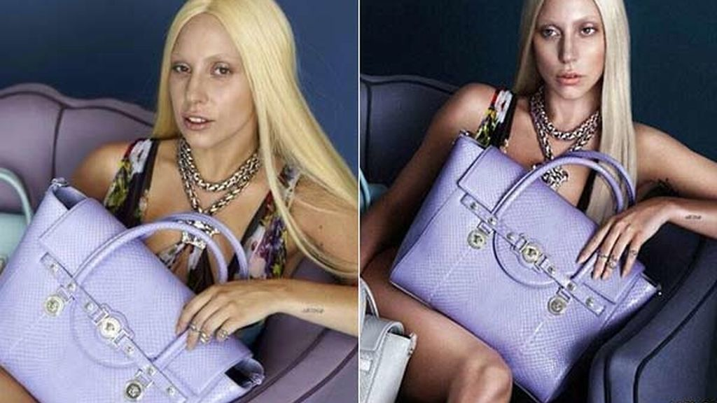 Lady Gaga antes y después del photoshop