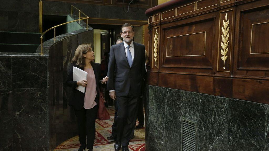 Mariano Rajoy a su llegada a la sesión de control
