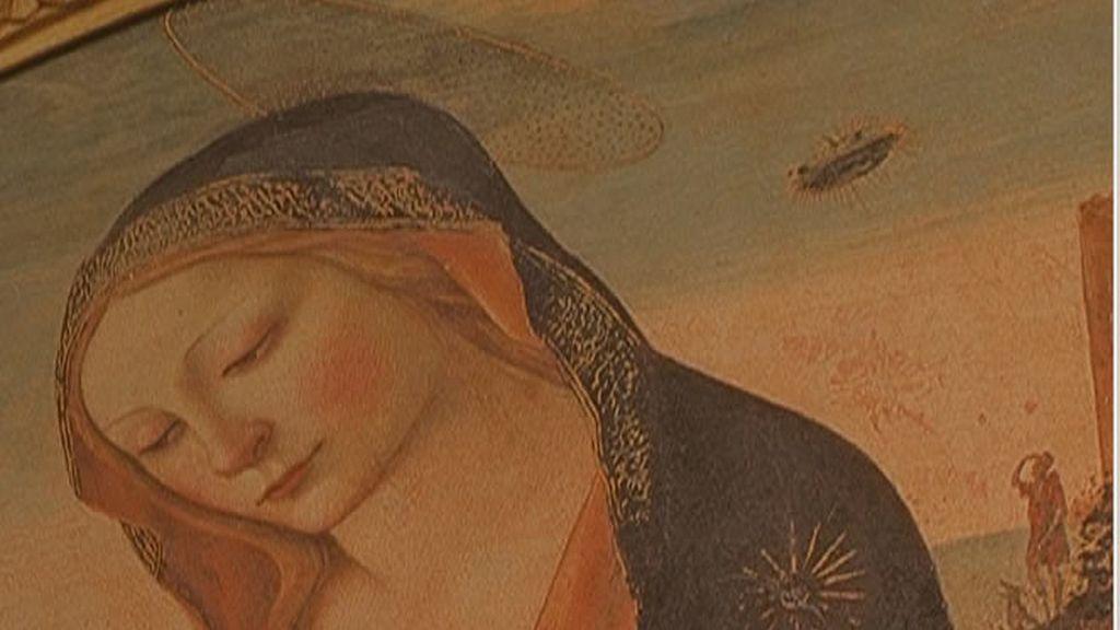 Pintura religiosa donde se contempla un humano y un perro mirando un ovni