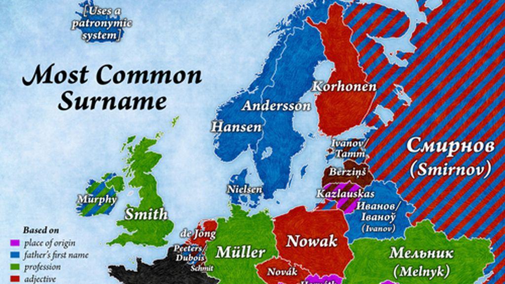 Los apellidos más comunes de Europa
