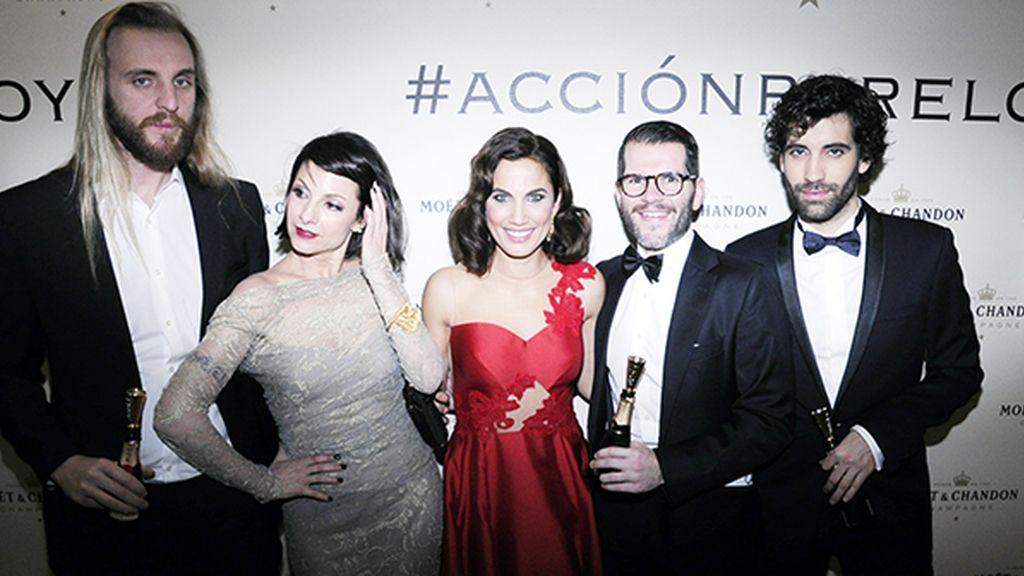 Najwa Nimri, Toni Acosta y Tamar Novas disfrutando de la noche entre amigos en la sala de entregadores organizada por Möet & Chandon