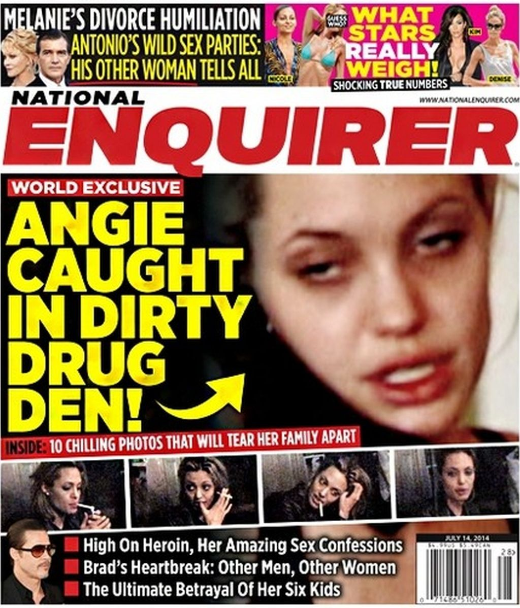 Angelina Jolie, Enquirer, drogas