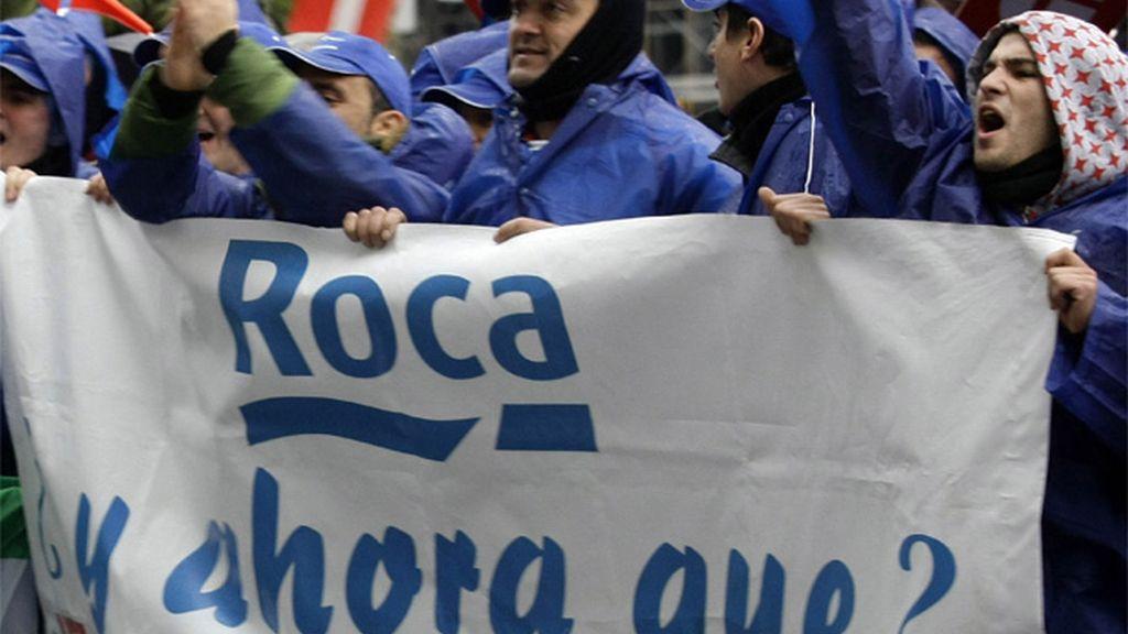 Manifestaciones tras el ERE temporal de 2008 en Roca