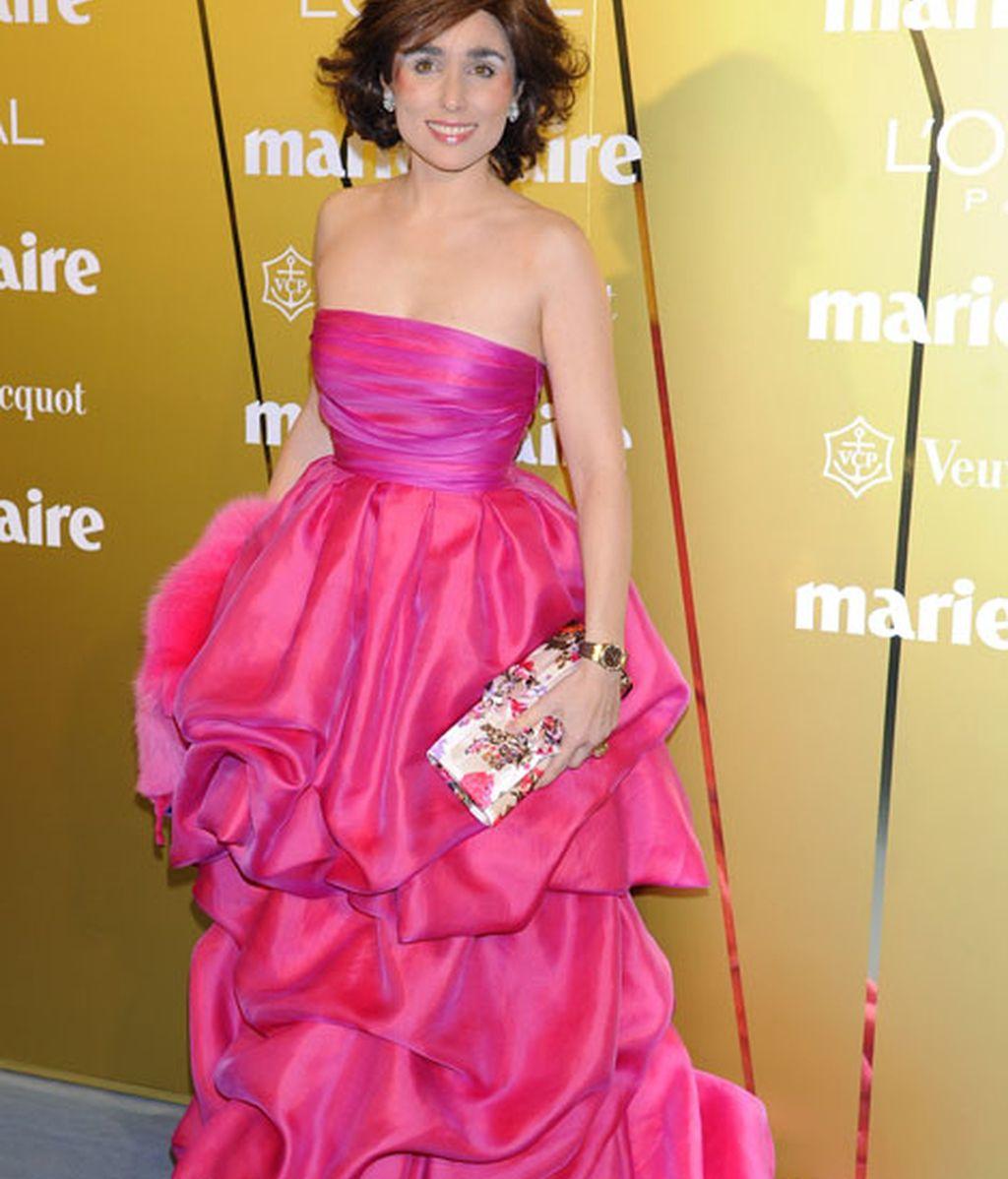 Paloma Segrelles, con un llamativo vestido rosa