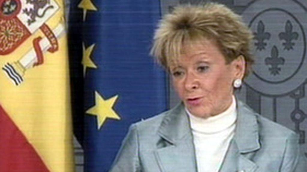 La vicepresidenta del Gobierno, María Teresa Fernández de la Vega