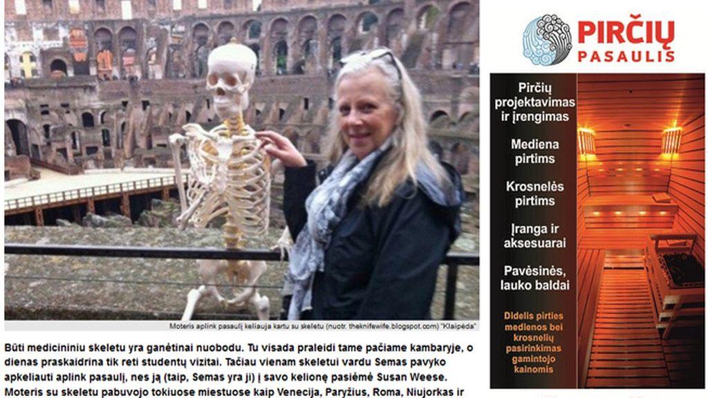 Una mujer recorre Europa durante un año con un esqueleto