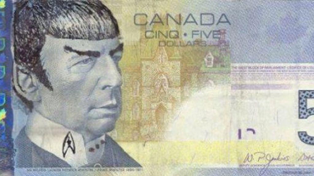 Homenaje a Mr. Spock en los billetes de cinco dólares canadienses