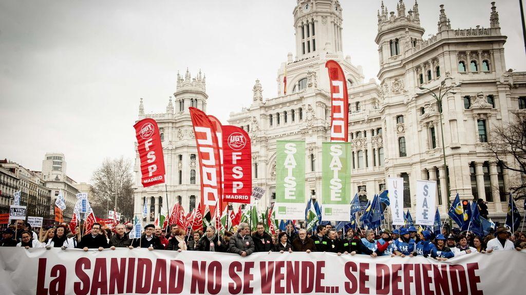 Marea blanca en Madrid. Foto: EFE