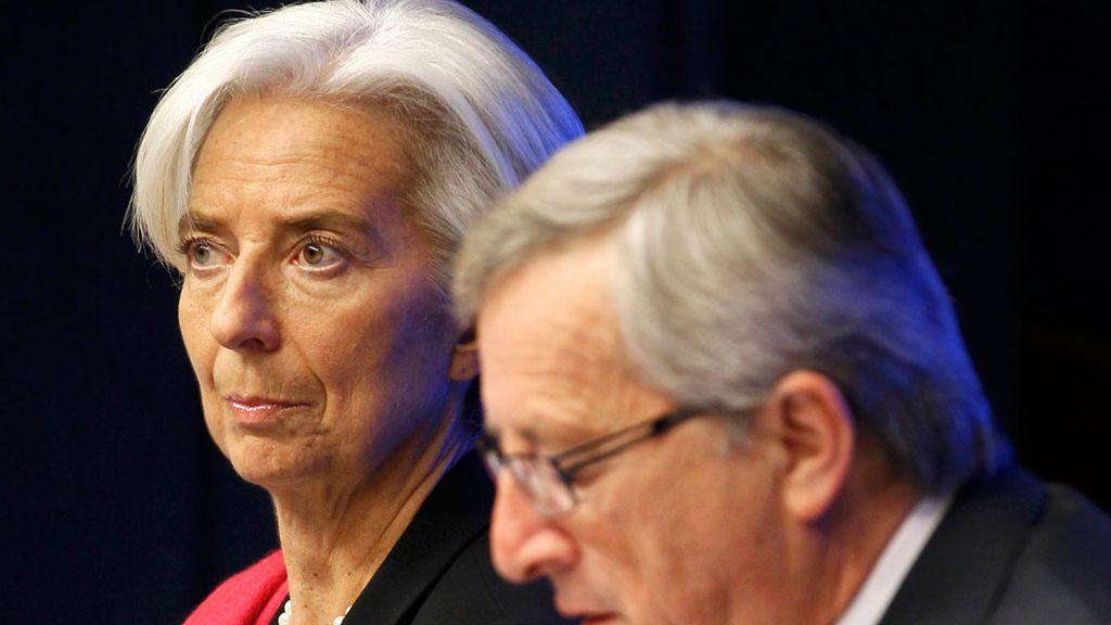 Jean-Claude Juncker y Christine Lagarde, en una reunión el Eurogrupo