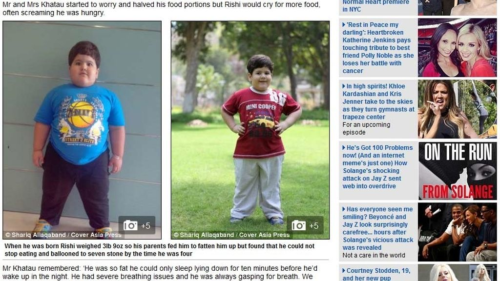Rishi se somete a una reducción de estómago con cuatro años