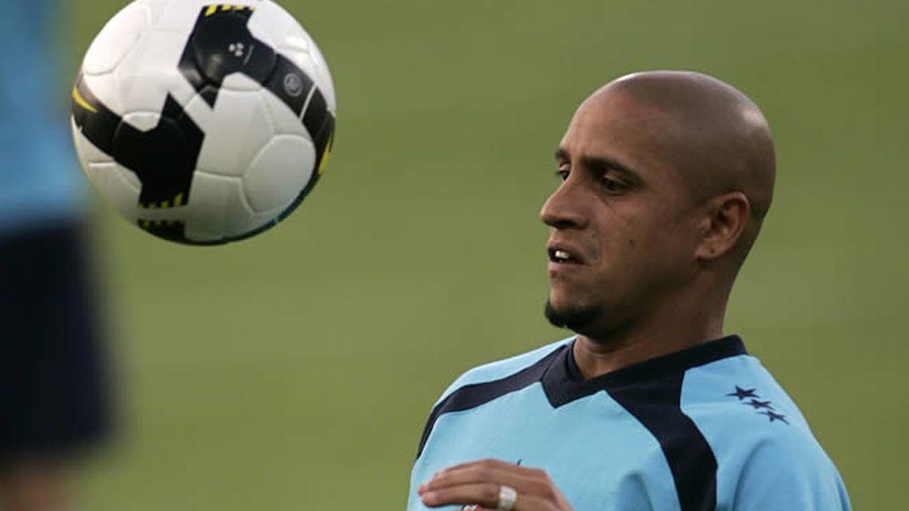 Roberto Carlos, durante un entrenamiento