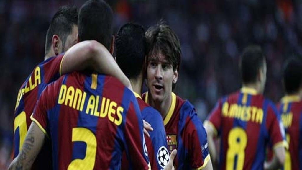 Celebración del tanto de Messi