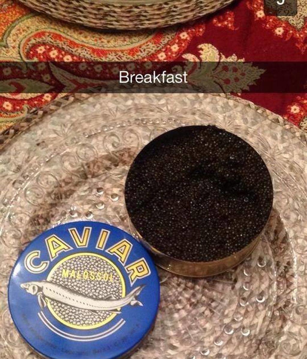 De desayunar... ¡caviar!
