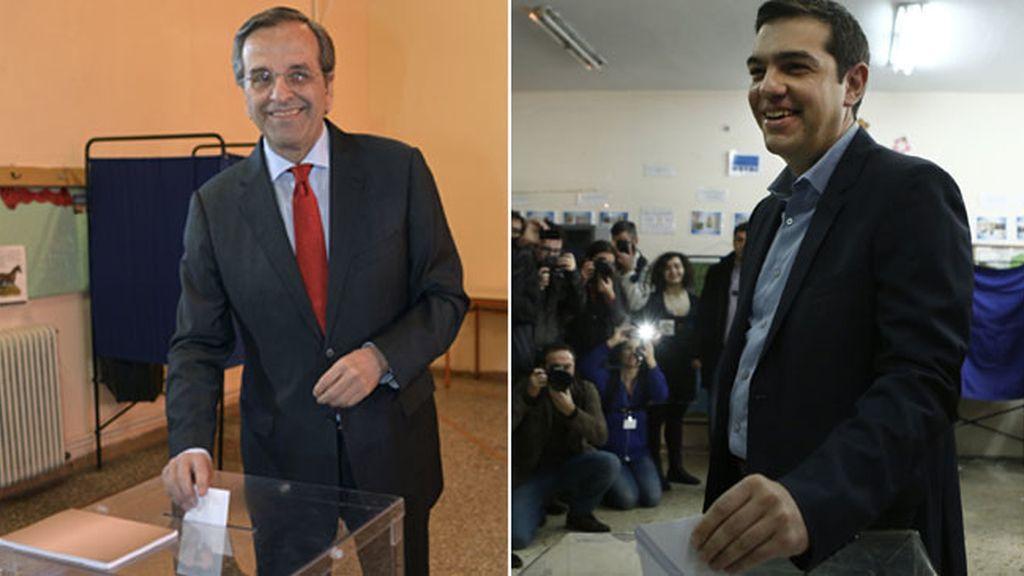 Antonis Samaras y Alexis Tsipras en las urnas