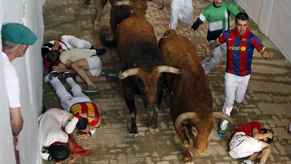 Pamplona vive un quinto encierro rápido y sin embestidas