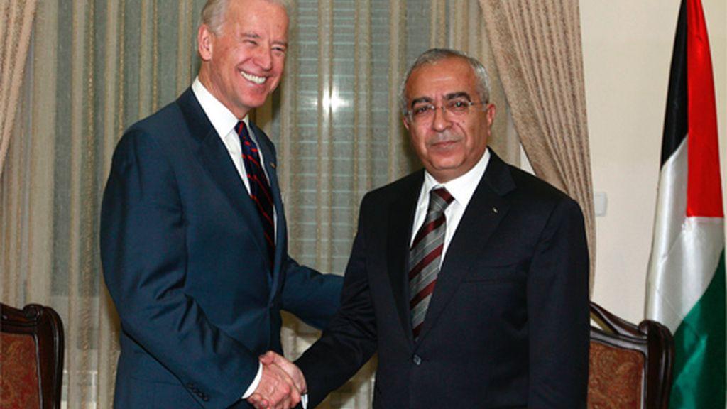 Biden y el ministro palestino Fayyad