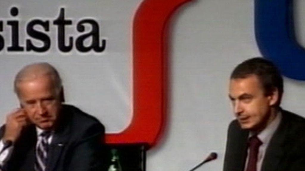 Jose Luis Rodriguez Zapatero y Joseph Biden tras la Cumbre de Líderes Progresistas