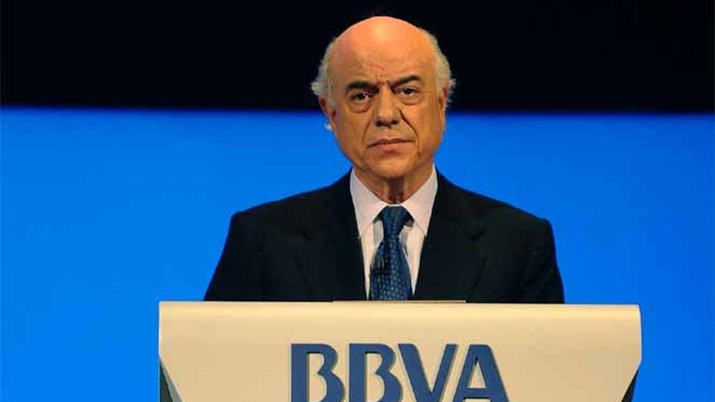 El presidente del BBVA, Francisco González, durante una conferencia con los stakeholders en Bilbao