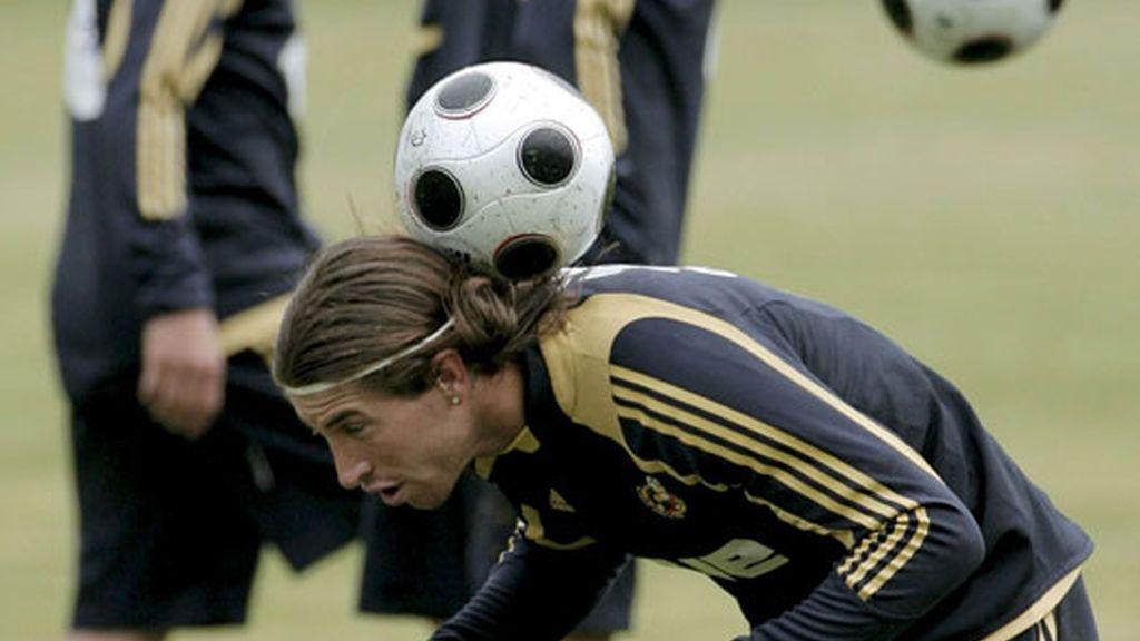 Sergio Ramos durante el entrenamiento del equipo en Neustift