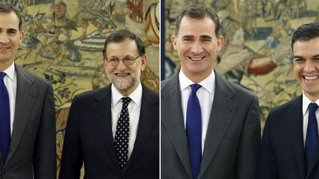 Mariano Rajoy y Pedro Sánchez con el Rey