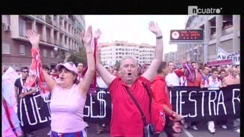 La afición del Atlético de Madrid descontenta