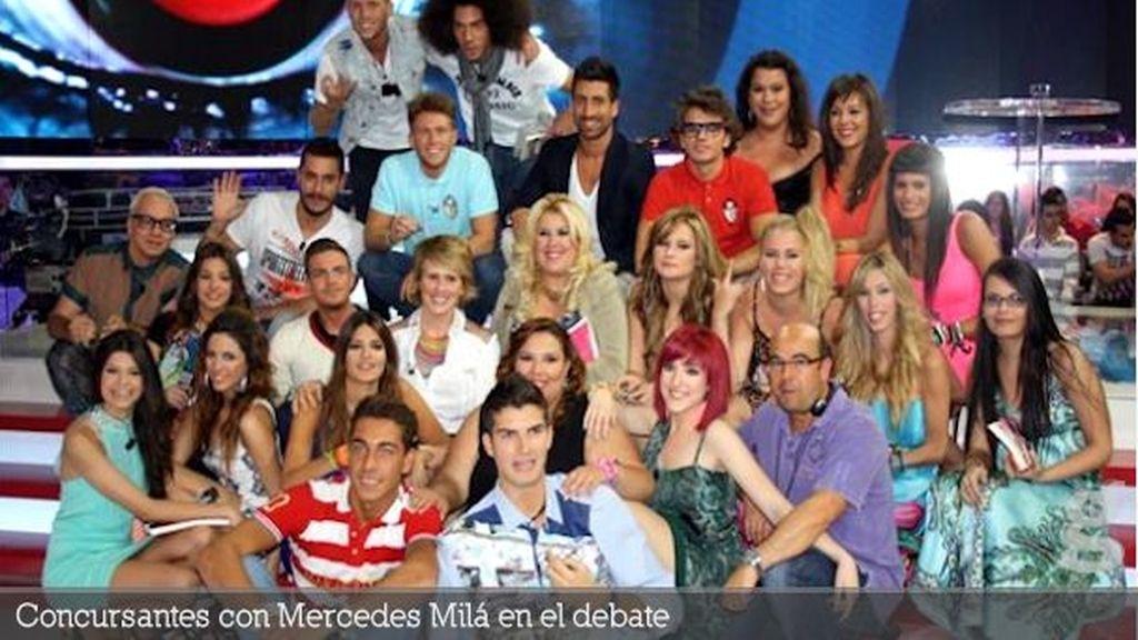 Concursantes con Mercedes Milá en el debate