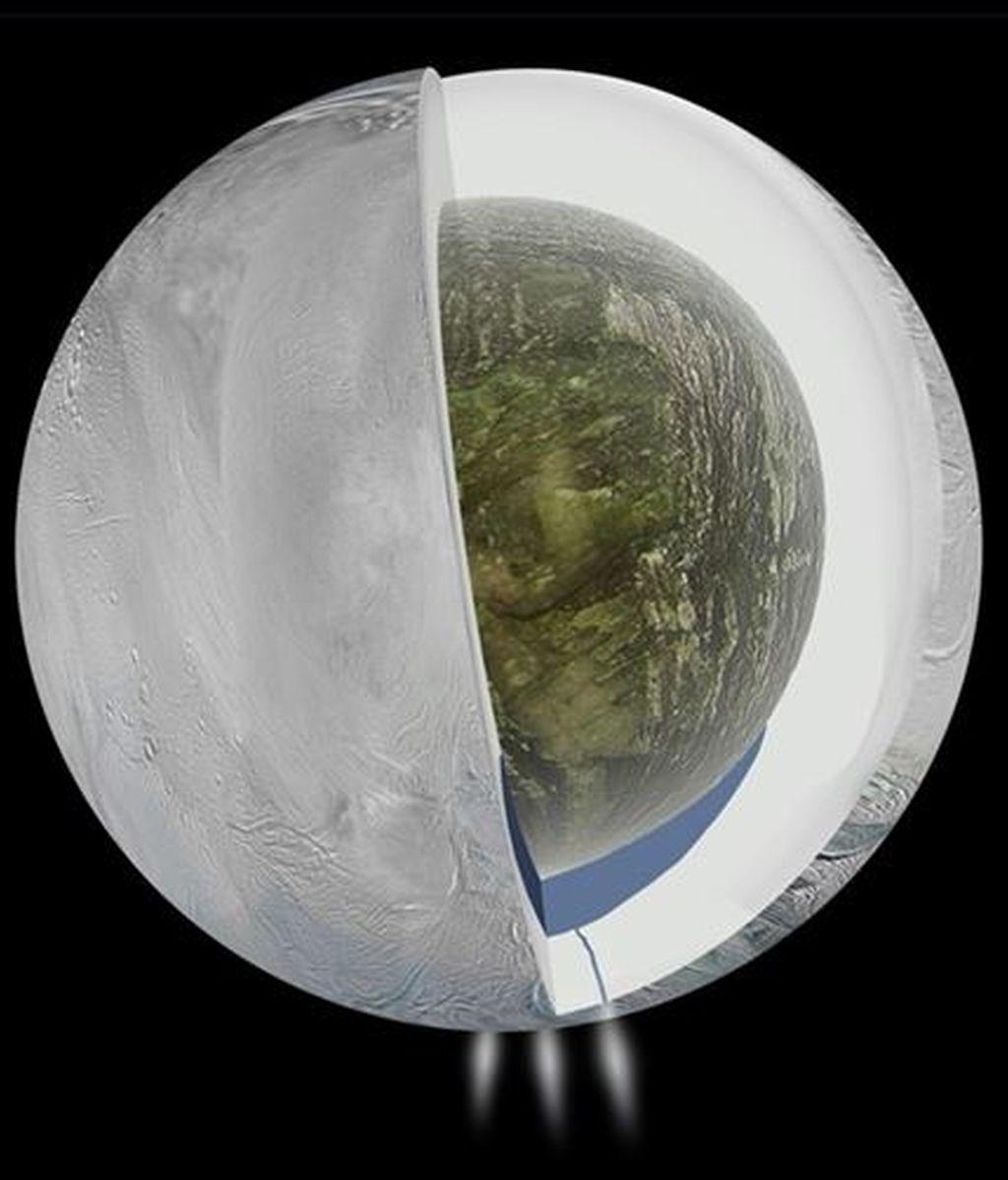 La NASA detecta un océano de agua bajo la superficie de Encelado