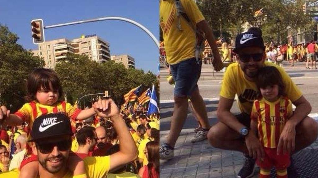 Piqué celebra la Diada con su hijo Milan