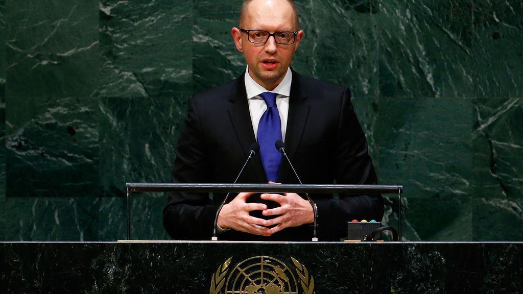El primer ministro ucraniano, Arseniy Yatsenyuk, en la Asamblea General de la ONU